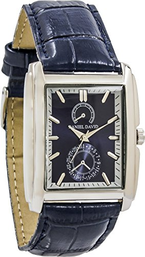 White Gold Mens Rectangle Watch (Men's Watches by Daniel David - Vintage Silver and Navy Genuine Leather Watch - Make Every Second Count - DD12501)