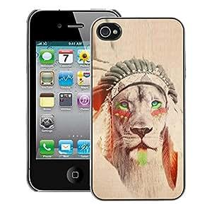 A-type Arte & diseño plástico duro Fundas Cover Cubre Hard Case Cover para iPhone 4 / 4S (Lion Native American Indian Sepia Feather)