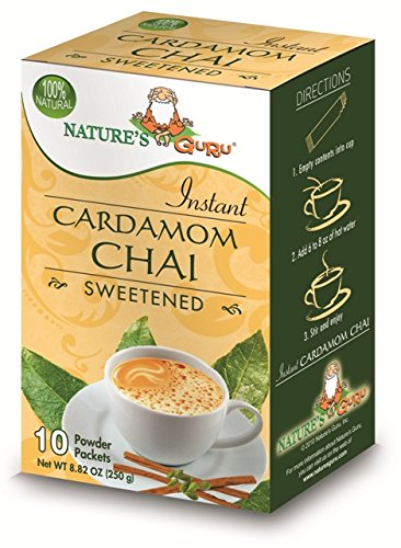 Nature's Guru Instant Cardamom Chai Tea Drink Mix, Sweetened, 10 Count Single Serve On-the-Go Drink Packets (Pack of 8)