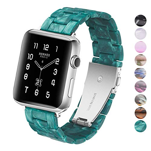 DEALELE Kompatibel Smartwatch 38mm 42mm 40mm 44mm Uhrenarmband Buntes Harz Resin Ersatz für Armbands, Falls zutreffend…