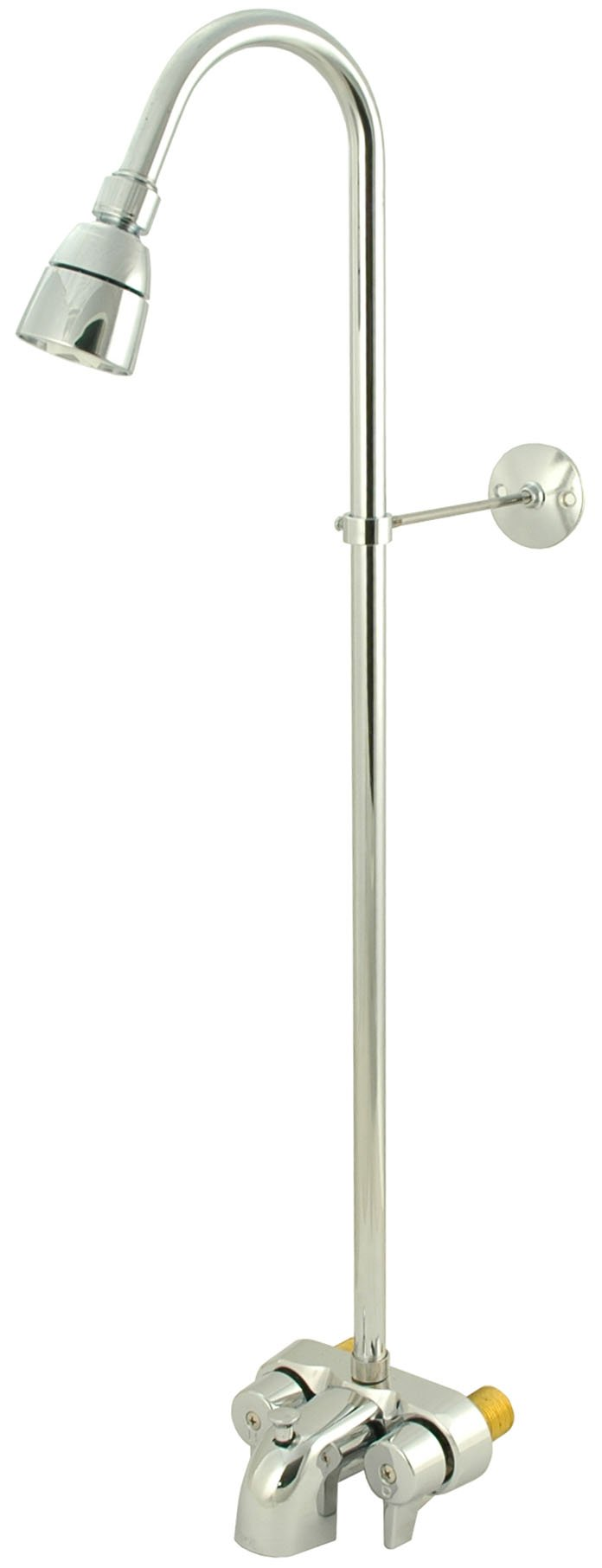Clawfoot Tub Shower Faucet or Add-on Shower & Bathcock, Brass in Chrome Finish - By Plumb USA 34065 by PlumbUSA