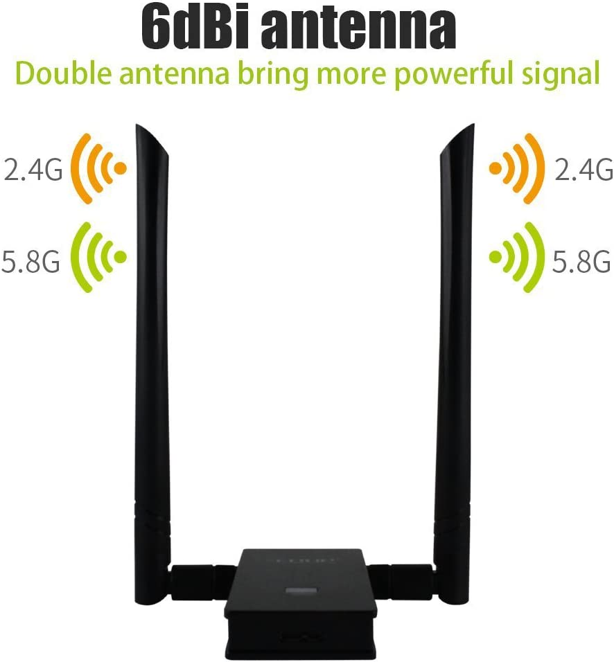 USB 3.0 Wireless Adapter 802.11AC 1200Mbps Dual Band with 2.4G//5.8G 6DBI External Dual Antennas for PC Desktop Mac Windows EDUP WiFi Adapter