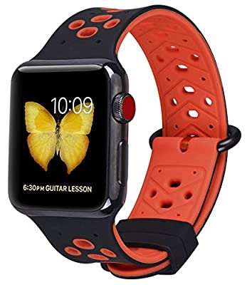 JSGJMY Apple Watch Band 42mm Women Men Soft Silicone Strap Replacement Wristband for iWatch Series 3/Series 2/Series 1/Edition/Sport(Black/Red)