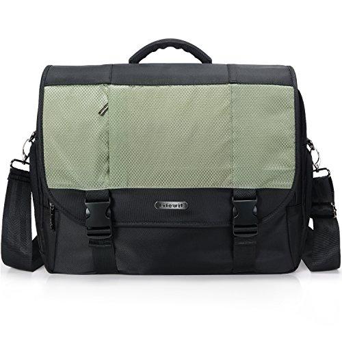 Lifewit 17.3-Inch Men's Multi-Pocket Laptop Messenger Bag Larger Capacity Business Shoulder Courier Handbag for Travel and School, Black&Light (Small Courier Bag)