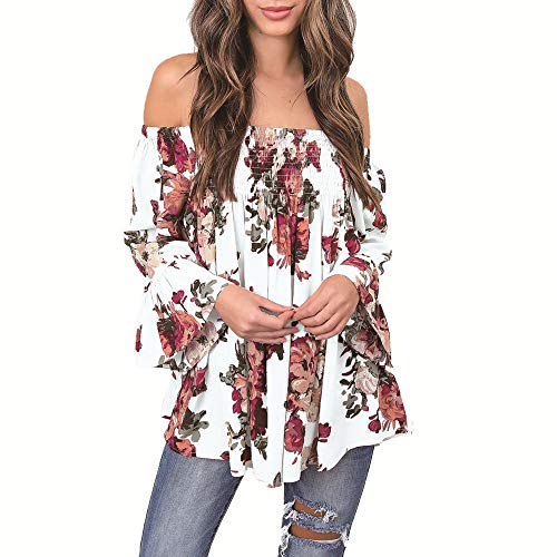 Xturfuo Womens Off The Shoulder Top Summer Bohemian Flowy Printing Shirt(S-3XL)
