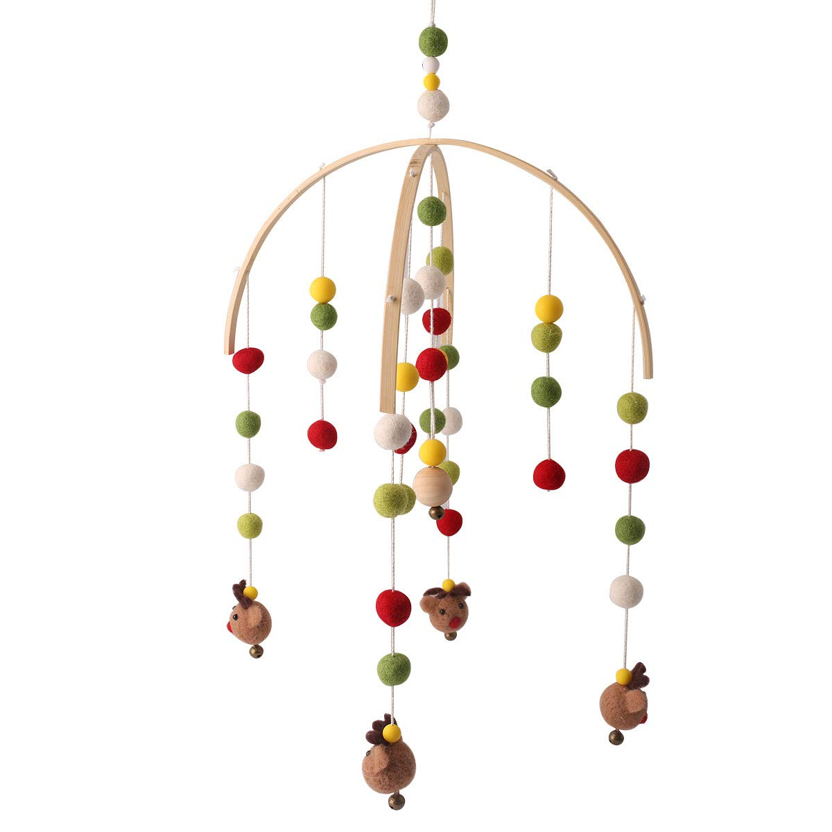 baby tete Baby Crib Mobiles for Girls Creative Hanging Toys Bed Bell Rattle Toys White and Pink Felt Balls Wooden Wind Chimes Tent