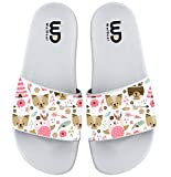 Pink Fox Owl Pattern Summer Slide Slippers For Girl Boy Kid Non-Slip Sandal Shoes size 2