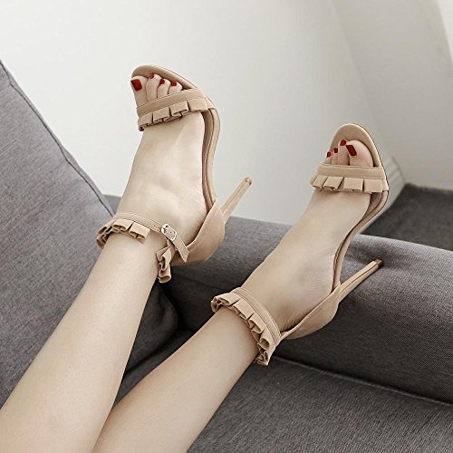 Schuhe 6 Sommer und ZHRUI Frau High 35 Pumps 40 Heels Römische Frühling 12cm Absatz Hoher Aprikose Sandalen W294 Spitze Schwarz BpEvqp