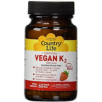 Country Life Certified Vegan K2 500 mcg - 60 Smooth Melts - Strawberry Flavor - Dual Spectrum MK-4 and MK-7 Complex