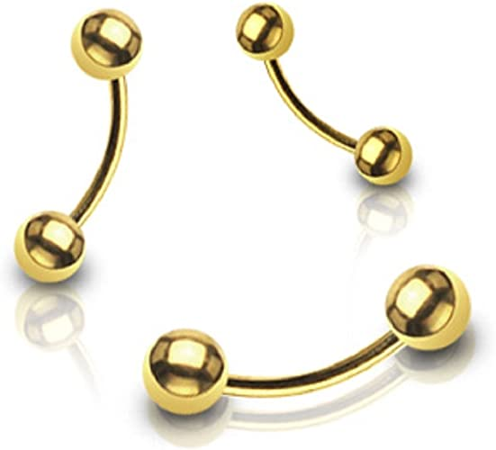 14k Solid Gold Cone Eyebrow Ring 16 Gauge Curved Cone barbell Conical Eyebrow Piercing Barbell Piercing