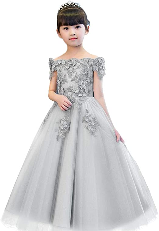 Kids Baby Flower Girls Princess Dress Lace Party Gown Formal Wedding Bridesmaid
