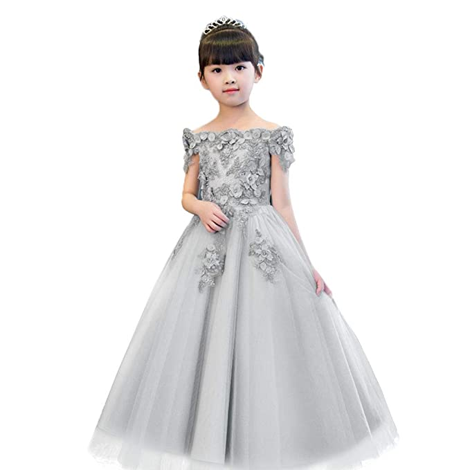 OwlFay Flower Girl Lace Off Shoulder Pageant Tulle Gown Wedding Party Dress  for Kids