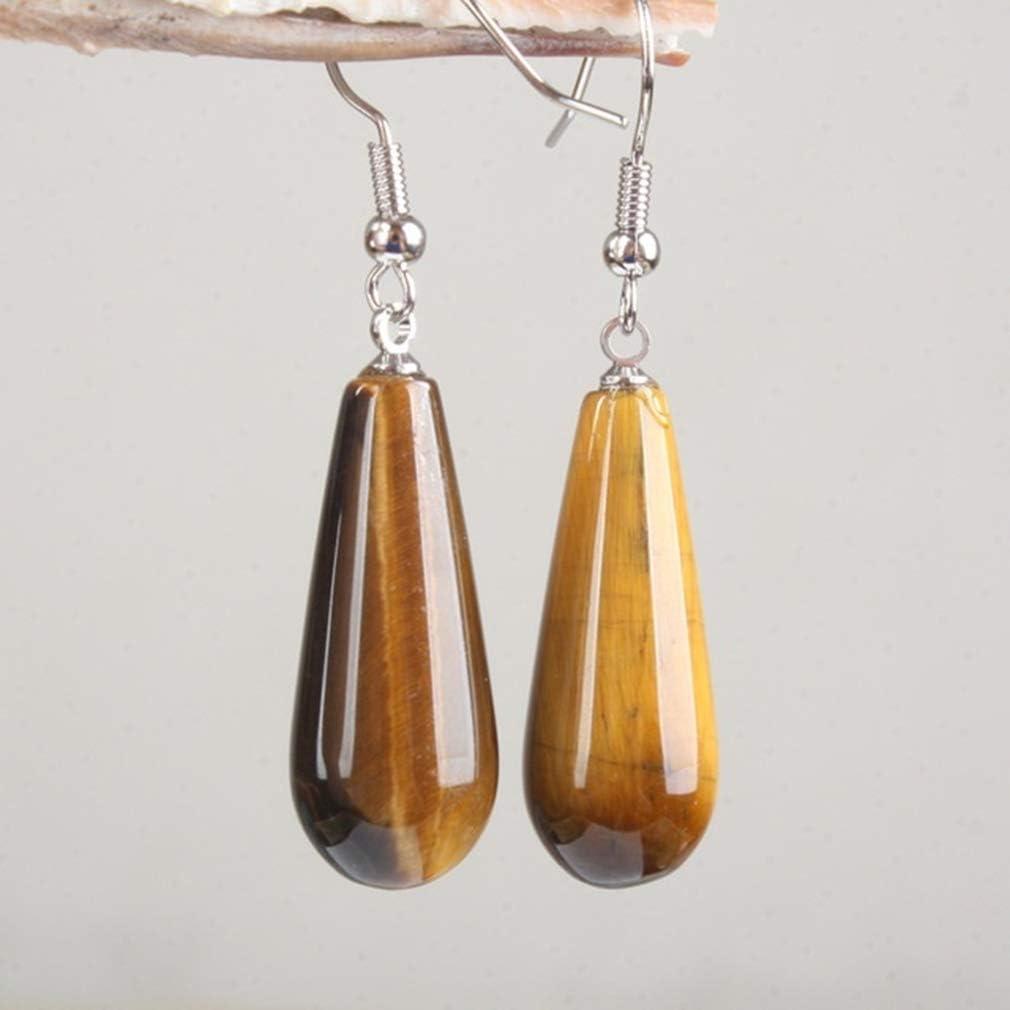 Iumer Womna Hook Earring Nature Stone Imitation Opal Simple Dangle Earring,Imitation Tiger Stone