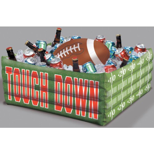 Amscan Football Fan Birthday Party Inflatable Plastic Cooler (1 Piece), Green, 14.2 x 11.3