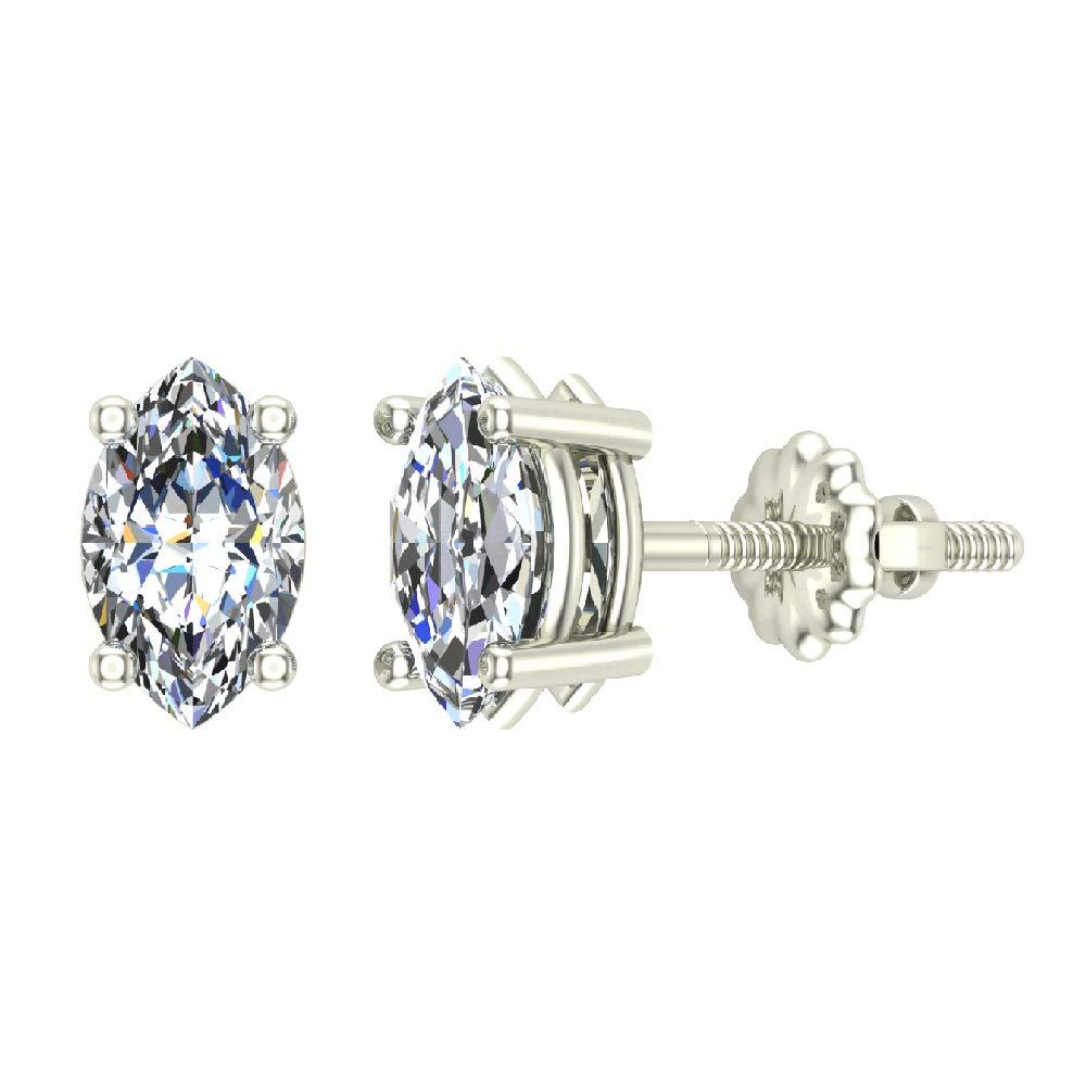 0.44 ct tw G VS Diamond Stud Earrings Marquise Cut