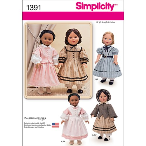 Simplicity 1391 Historical Civil War Doll Clothing Sewing Patterns, 18''