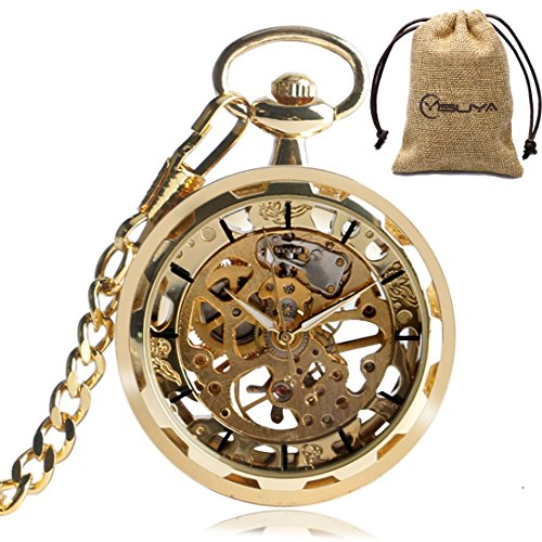 - Luxury Golden Watch Hand-Winding Mechanical Pocket Watches Pendant Vintage Open Face Skeleton Clock Chain Gift