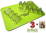 3 Taco Holders and Silicone Mat by AT - Best Stainless Steel Taco Rack Tray - Grill, Oven and Dishwasher Safe Taco Shell Stand - Silicone Nonstick Baking Mat - Exclusive Taco Recipes e-Book