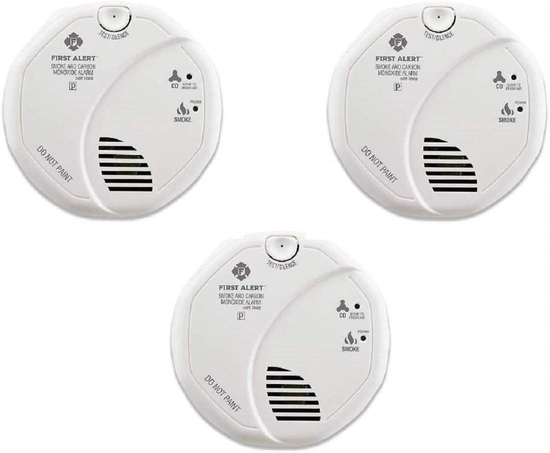 First Alert SCO7CN Combination Smoke and Carbon Monoxide Detector with Voice and Location, Battery Operated – 3 Pack