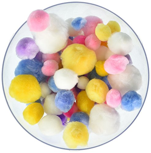 Pepperell Assorted Pom Poms, Pastel Colors, 300 Per - Ball Pastel