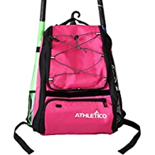 Athletico Baseball Bat Bag - Backpack for Baseball, T-Ball & Softball Equipment & Gear for Kids, Youth, and Adults | Holds Bat, Helmet, Glove, & Shoes |Separate Shoe Compartment & Fence Hook