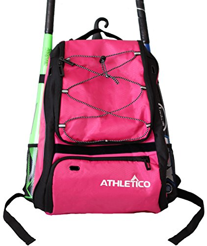 (Athletico Baseball Bat Bag - Backpack for Baseball, T-Ball & Softball Equipment & Gear for Kids, Youth, and Adults | Holds Bat, Helmet, Glove, Shoes |Separate Shoe Compartment & Fence Hook (Magenta))