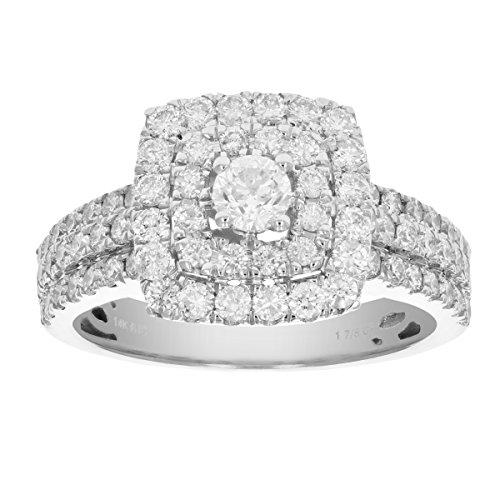 2 CT Diamond Wedding Engagement Ring Set 14K White Gold Size 7.5 (2 Ct Diamond Wedding Rings)