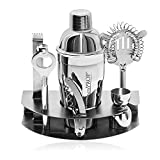 Deluxe 7 Piece Stainless Cocktail Steel Bar Set FREE Cocktail Recipe Book & Stand, Cocktail Shaker, Tongs, Strainer, Corkscrew/Bottle Opener, Storage Rack