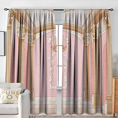 Princess Indoor/Outdoor Single Panel Print Window Curtain Interior of The Ballroom Magic Castle Chandelier Ceiling Columns Kingdom Print Insulated with Curtains for Bedroom W 96