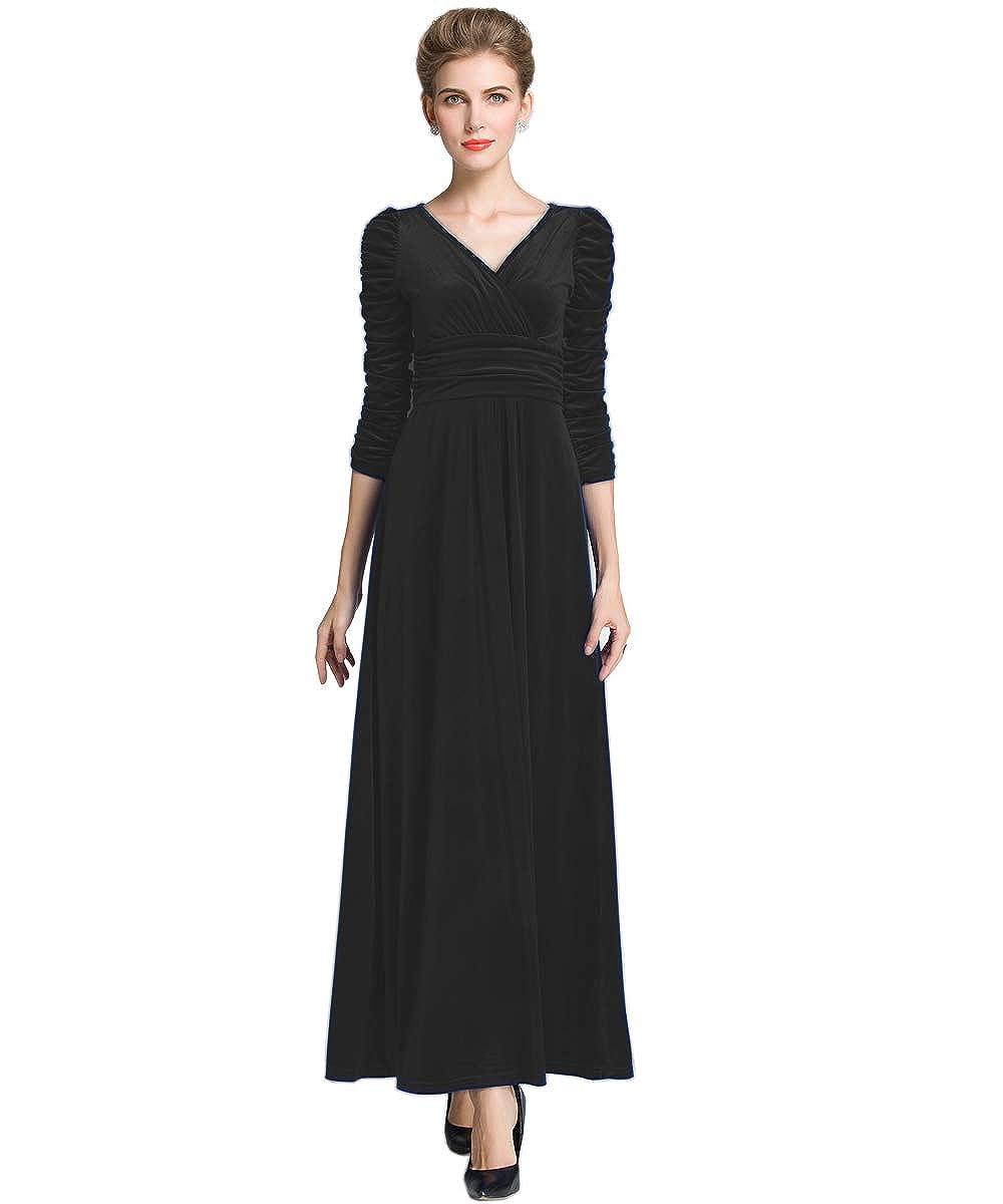 Medeshe Womens Emerald Green Christmas Long Velvet Party Maxi Dress: Amazon.co.uk: Clothing