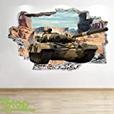 1Stop Graphics Shop ARMY TANK WALL STICKER 3D LOOK - BOYS KIDS BEDROOM ARMY WALL DECAL Z553 Size: Large