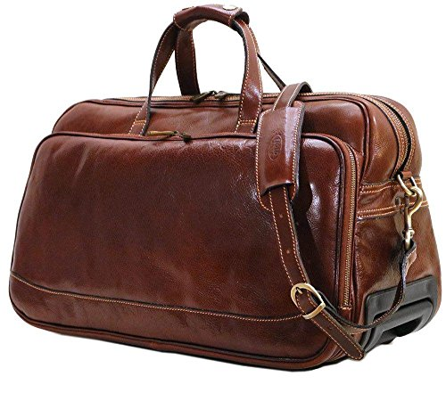 Floto Large Milano Trolley Brown Leather Wheeled Luggage ()