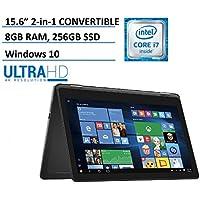 Dell Inspiron 15 7000 7568 2-in-1 Laptop, 15.6 4K (3840x2160) TOUCHSCREEN, Intel 6th Gen i7-6500U, 256GB SSD, 8GB DDR3, Backlit Keyboard, Windows 10 (Certified Refurbished)