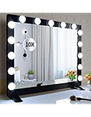 Hollywood Vanity Mirror with Light for Wall Mounted, Tabletop Hollywood Lighted Makeup Mirrors with 3 Color Lights (Black)