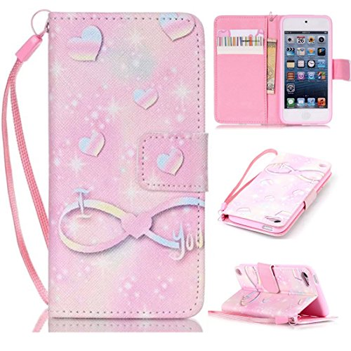 iPod Touch 6 Case, iPod Touch 5 Case, Lwaisy [Wrist Strap] [Stand Feature] Premium PU Leather Wallet Phone Case Flip Cover Built-in Card Slots for Apple iPod Touch 5 6th Generation (I Love (Itouch Flip Case)