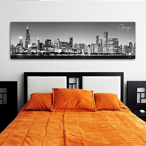 WallsThatSpeak Panoramic Chicago Cityscape Picture Black and White Stretched Canvas Art Print Wall Decoration For Bedroom or Office Framed and Ready to Hang 14