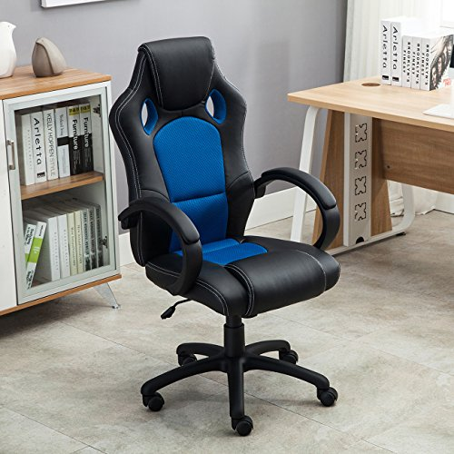 belleze racing high back office chair pu leather computer desk gaming swivel wheel seat black. Black Bedroom Furniture Sets. Home Design Ideas
