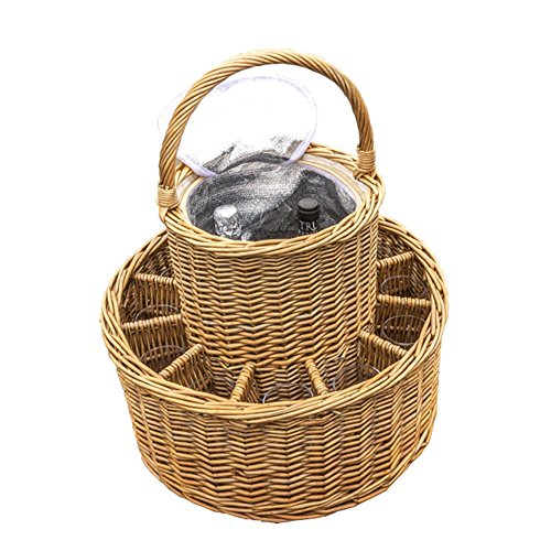 Red Hamper Wicker Celebration Basket with Fitted Cooler and Glasses