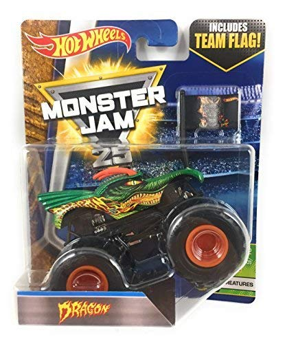 (Monster Jam 2017 Hot Wheels 1:64 Scale Truck with Team Flag -)