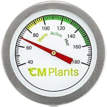 CM Plants Compost Thermometer - Quality Stainless Steel Bimetal Thermometer for Backyard Composting - 2 Inch Diameter Fahrenheit Dial, 20 Inch Temperature Probe