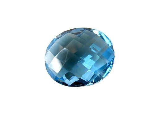 Gemsdiamondsbyshikha Grande 16 mm 10,30 CTW azul suizo topacio suelto facetado cabujón para anillo