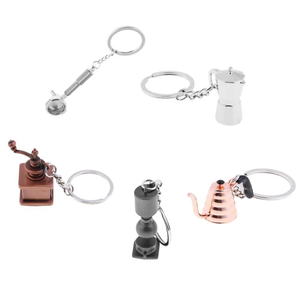 Prettyia 5pcs Zinc Alloy Coffee Keyring Keychain Coffee Accessories