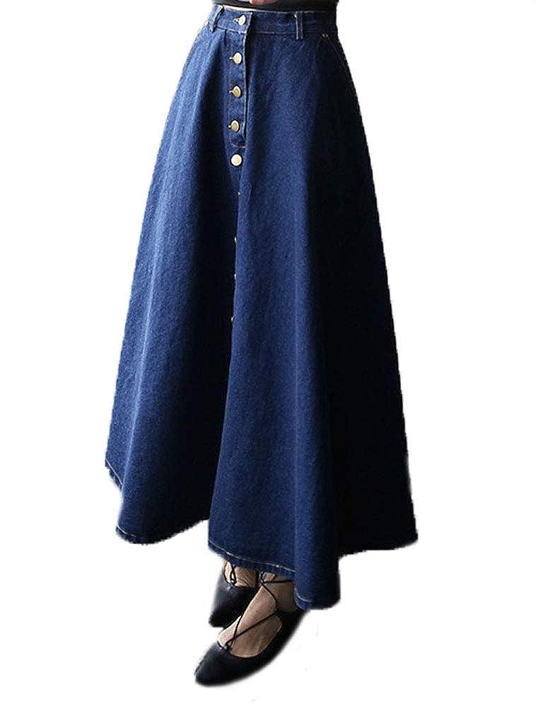 Huixin Mujer Jeans Falda Larga Cintura Alta A-Line Sencilla Falda ...