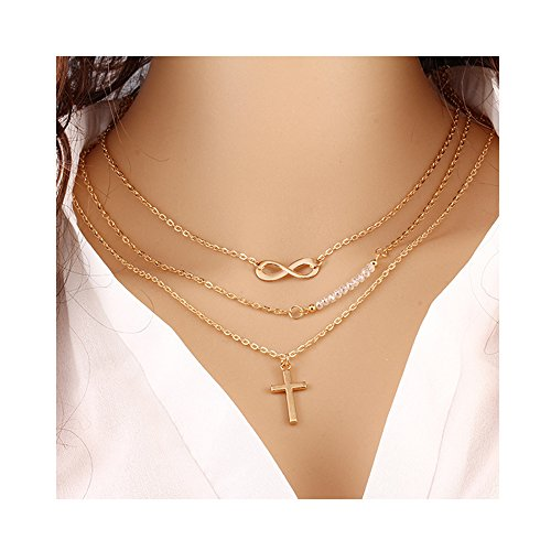 Domucos Infinite Choker Necklace Set Multilayer Layers Chain Clavicle Cross Necklace Bead Jewelry for (Crystal Cross Choker Necklace)
