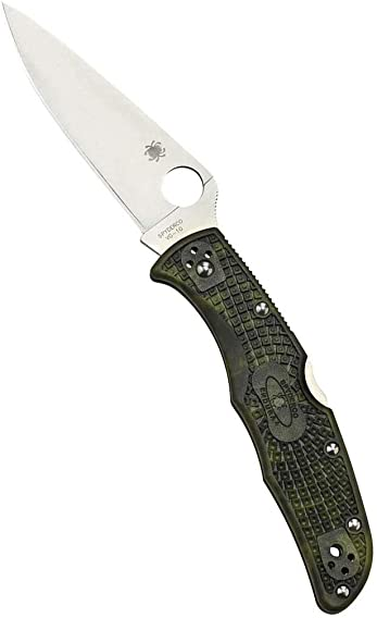 Spyderco Endura 4 Lightweight Signature Folder Knife with 3.80 VG-10 Steel Blade and Zome Green FRN Handle – PlainEdge Grind – C10ZFPGR