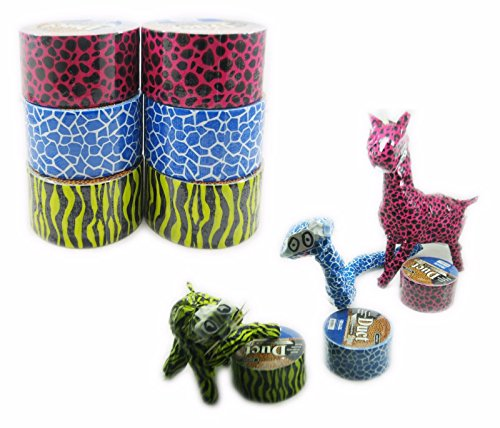 Cheetah, Zebra & Giraffe Print Duct Tape (One Roll Each - Pack of 3)