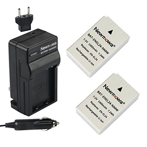 Newmowa EN-EL24 Battery (2-Pack) and Charger kit for Nikon EN-EL24 and Nikon 1 J5