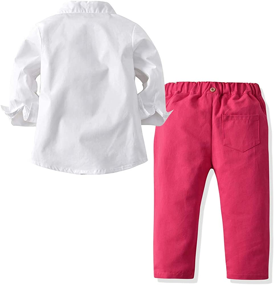 Toddler Boys Gentleman Clothes Sets Bow Tie Pink Shirts Suspender Pants Best Gifts 2-7T