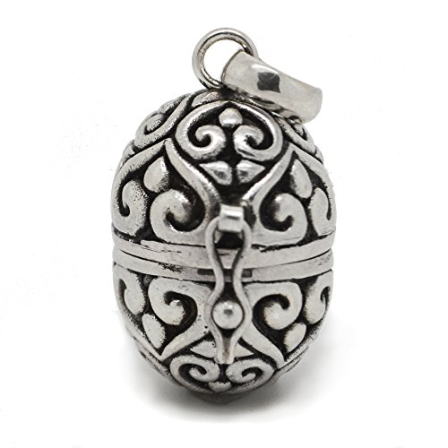 Filigree Egg Sterling Silver Poison Locket Prayer Box Pendant