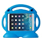 Muze Shock Proof Kids Case 3D Rubbers Carrying Case with Handle for Apple iPad 2/3/4 Generation Tablet, Blue